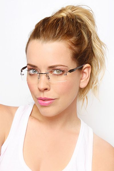 f3838fea59 Sarah Palin  Luxe Rimless Rectangular Clear Glasses - Nickel  8471-3 ...