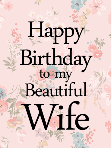 Flower printed happy birthday card for wife your wife will be flower printed happy birthday card for wife your wife will be excited to celebrate her bookmarktalkfo Image collections