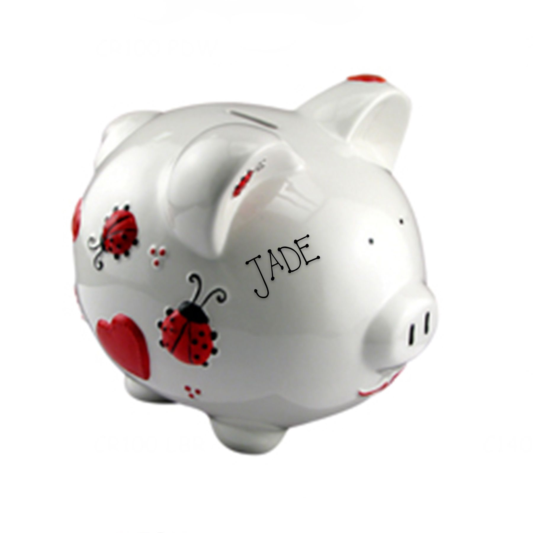 this ladybug piggy bank is absolutely adorable and makes a great  - personalized piggy bank ladybug