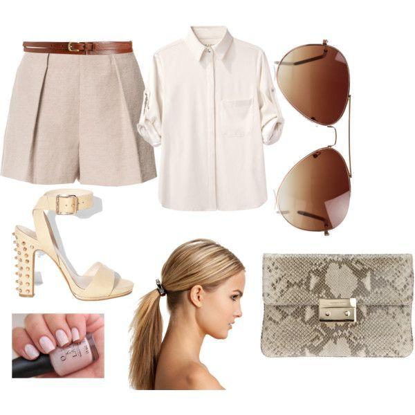 pleated shorts, hand bag, shirt, glasses, opi, nails, ponytail, glasses, summer, neutrals, white, tan