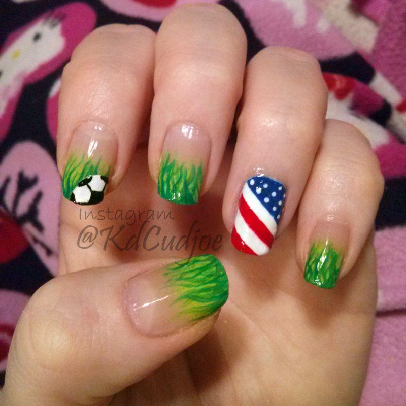 Fifa World Cup 2014 Soccer Football Usa Nail Art Nails Soccer Nails Sports Nails Usa Nails