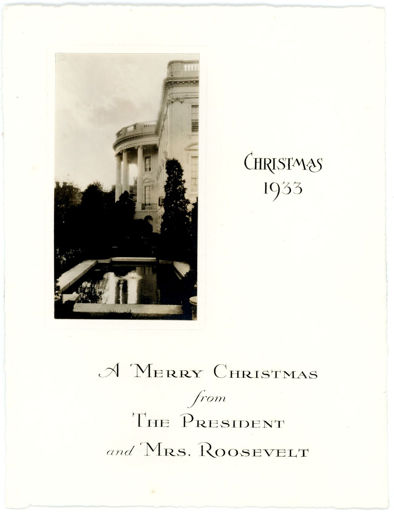 White House Christmas Cards During the Roosevelts\' first year in the ...
