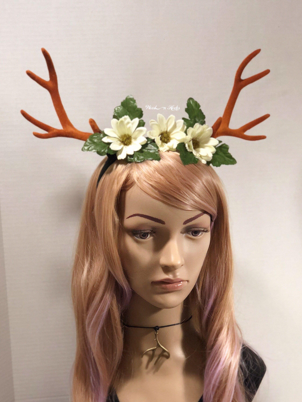 deer antler headband flower crown felt horns christmas halloween costume woodland creature cosplay by woodnhooks on