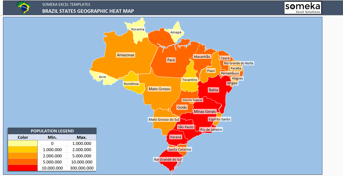 Brazil Geographic Heat Map Generator | Geographic Heat Map ...