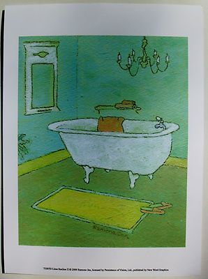 $18.50 Bathroom Art Print, By Ramona Jan, Lime Recline II