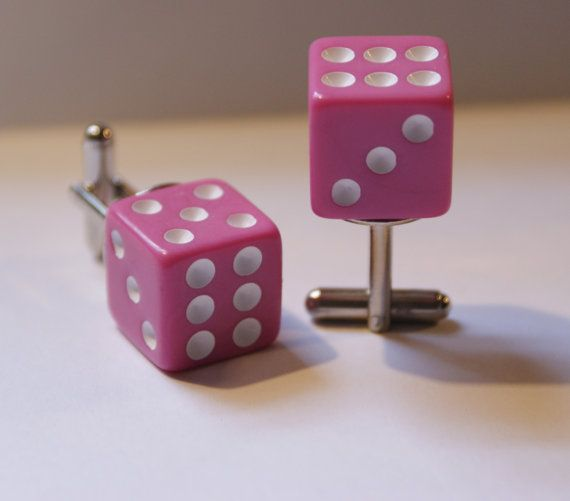 Pink 6 Sided Dice Cufflinks Free gift bag