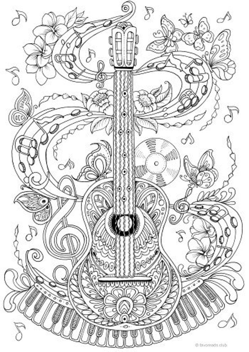 Guitar Printable Adult Coloring Page from Favoreads