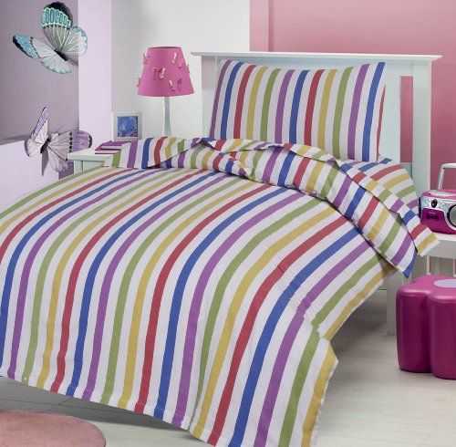 Candy Stripe 100 Brushed Soft Cotton Thermal Flanelette Duvet Cover Fitted Sheet 70 X 140 Cm And Pillow Cot Bed Duvet Cover Flannelette Sheets Cot Bedding