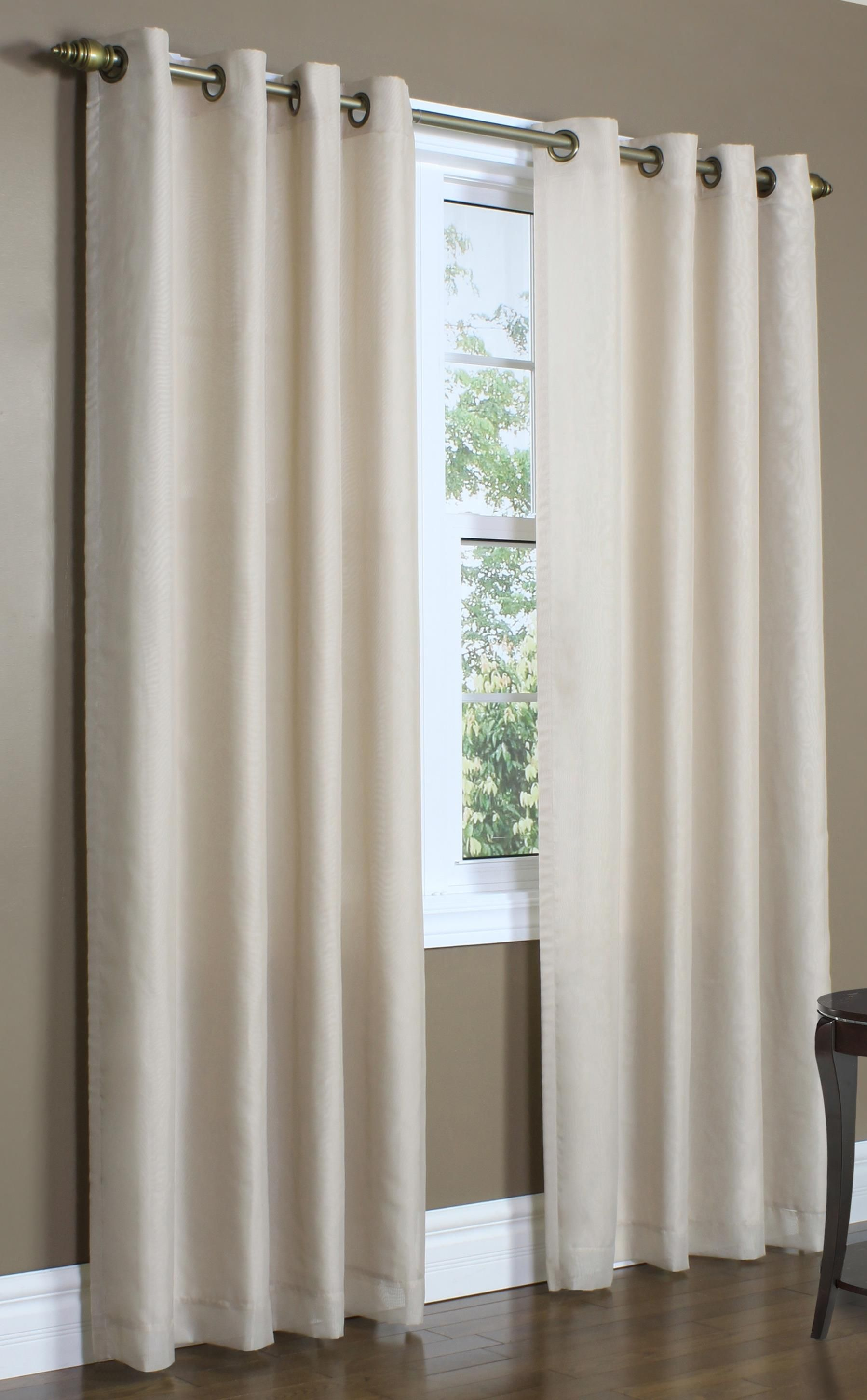 Lined Grommet Top Insulated Semi Sheer Rhapsody European Style Voile 104 Wide Single Panel