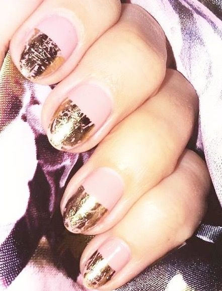 Gold tips pink summer nails
