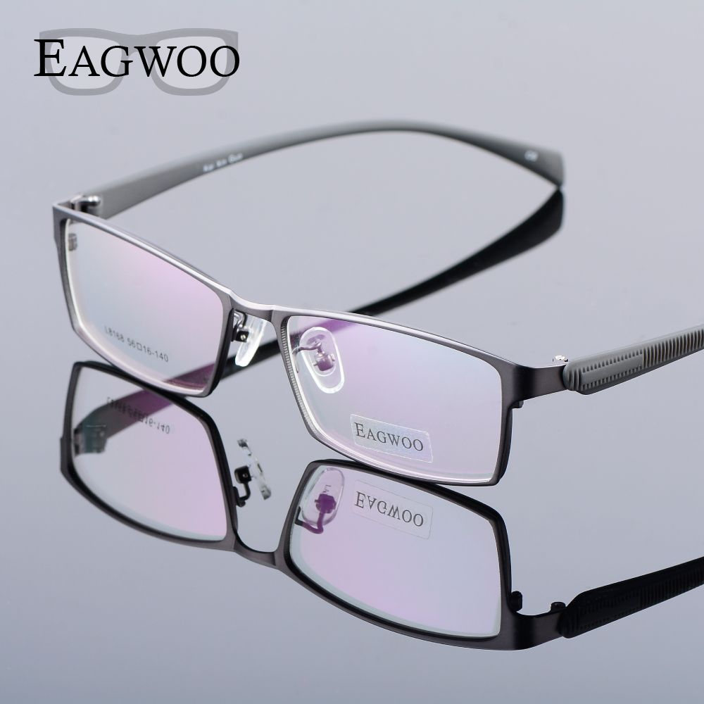 Sports frames for eyeglasses - Eagwoo Metal Eyeglasses Frame Full Rim Men Sports Optical Frame With Silicon Temple Men Vision Spectacle