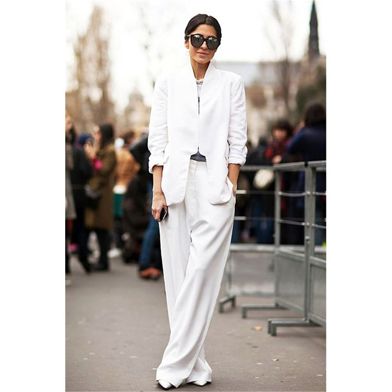 White 2 Pieces Sets Womens Business Suits Formal Pant Suits For ...
