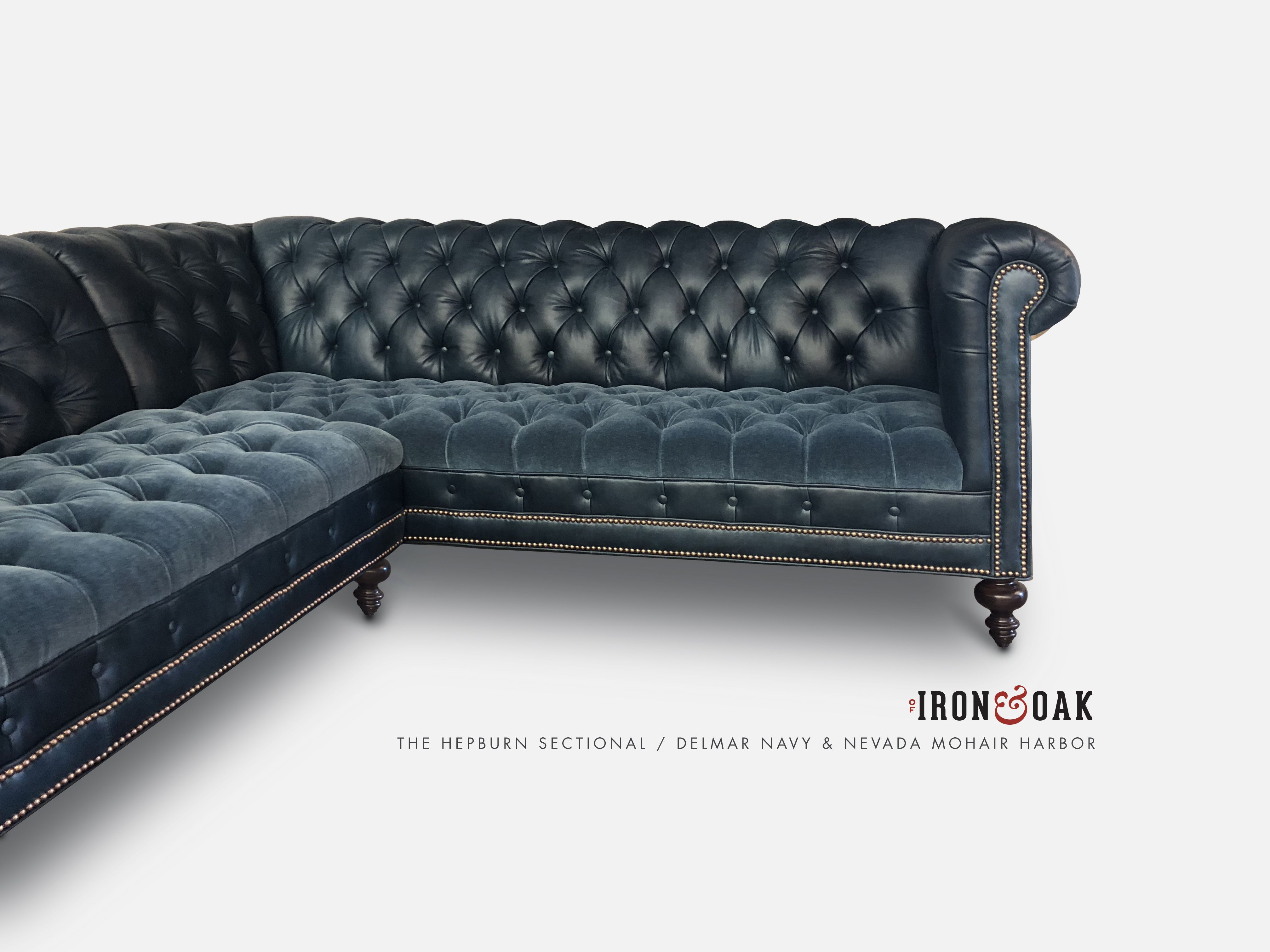 The Hepburn Custom Tufted Seat Chesterfield Sofas More Of Iron Oak Sectional Velvet Sectional Leather Chesterfield Sofa