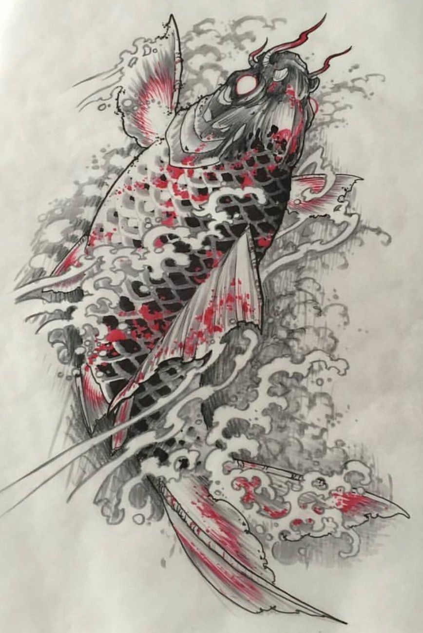 Pin by nh l v n on hinh xam pinterest koi tattoo for Japanese koi design
