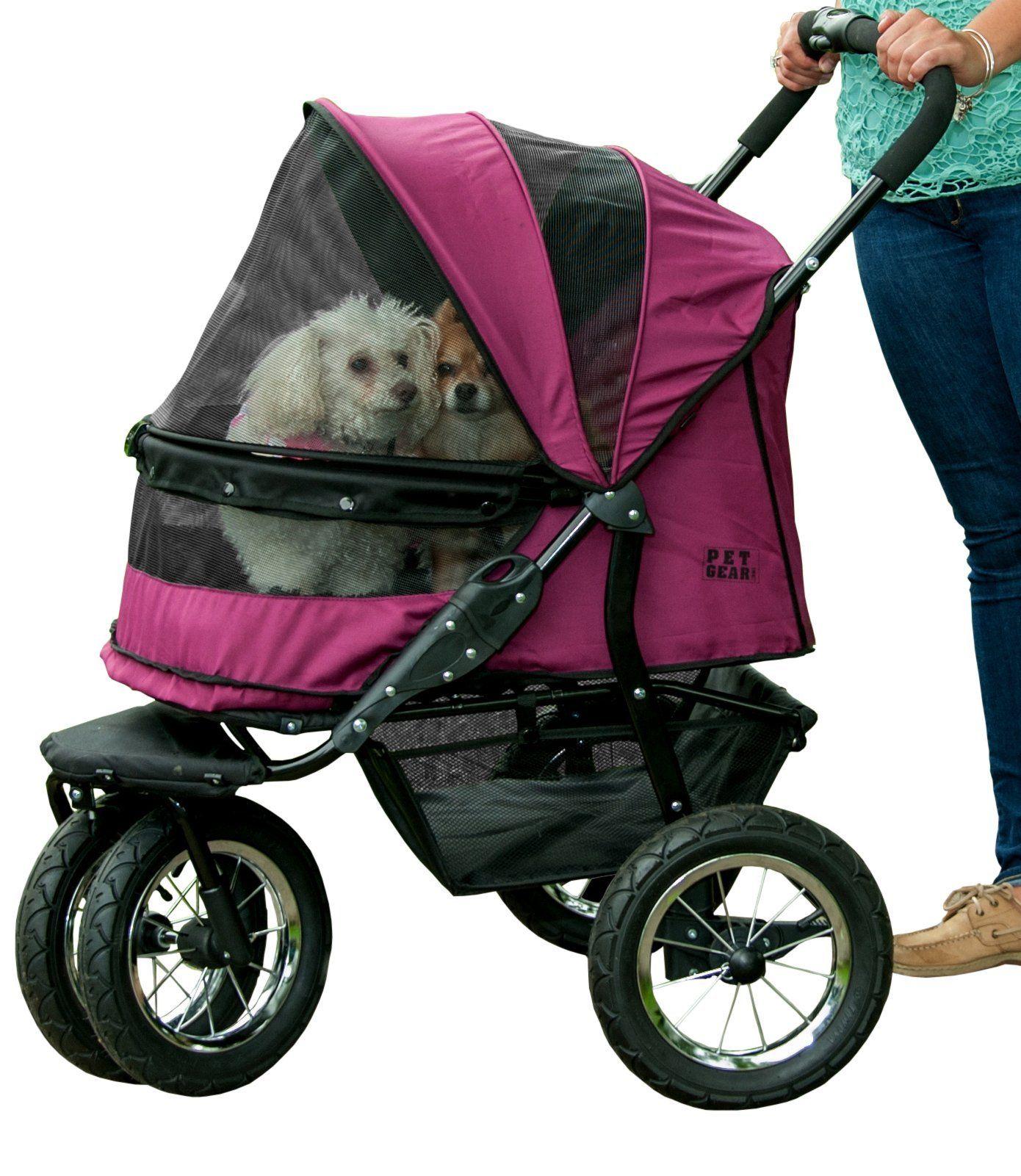 Pet Gear NOZip Double Pet Stroller Zipperless Entry for