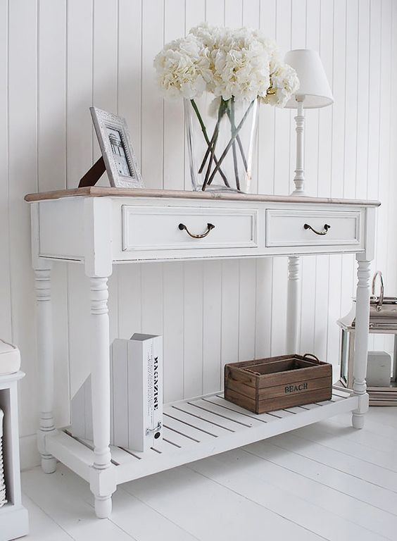 The Provence White Console Table With Shelf And Drawers Click To Return Product Page