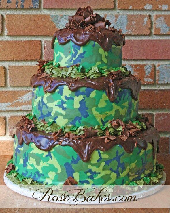 Camouflage Groom's Cake | http://rosebakes.com/camouflage-grooms-cake/