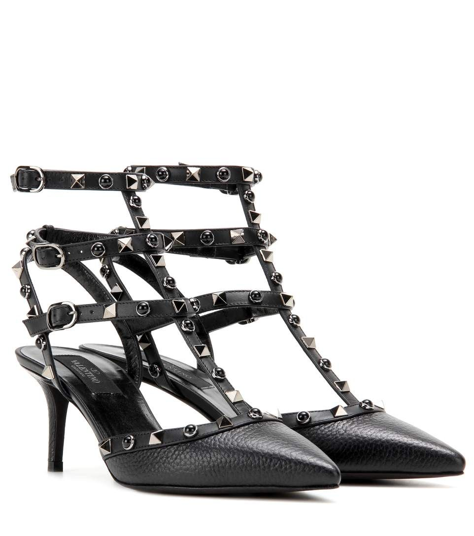 87c21a12d1 VALENTINO Rockstud Rolling Noir Leather Kitten-Heel Pumps. #valentino #shoes  #pumps