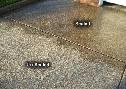 Wet Look Acrylic Sealer On Aggregate Concrete Exterior