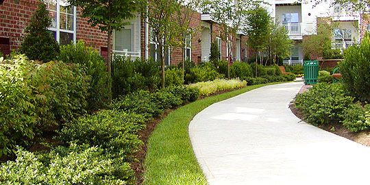 large apartment complex landscaping
