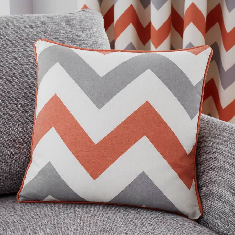 Fusion CHEVRON Grey /& White 100/% Cotton Ready-Made Eyelet Curtains /& Cushions