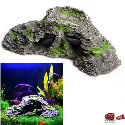 Aquarium Cave Stone Rock Landscape Decor Ornament Fish Tank