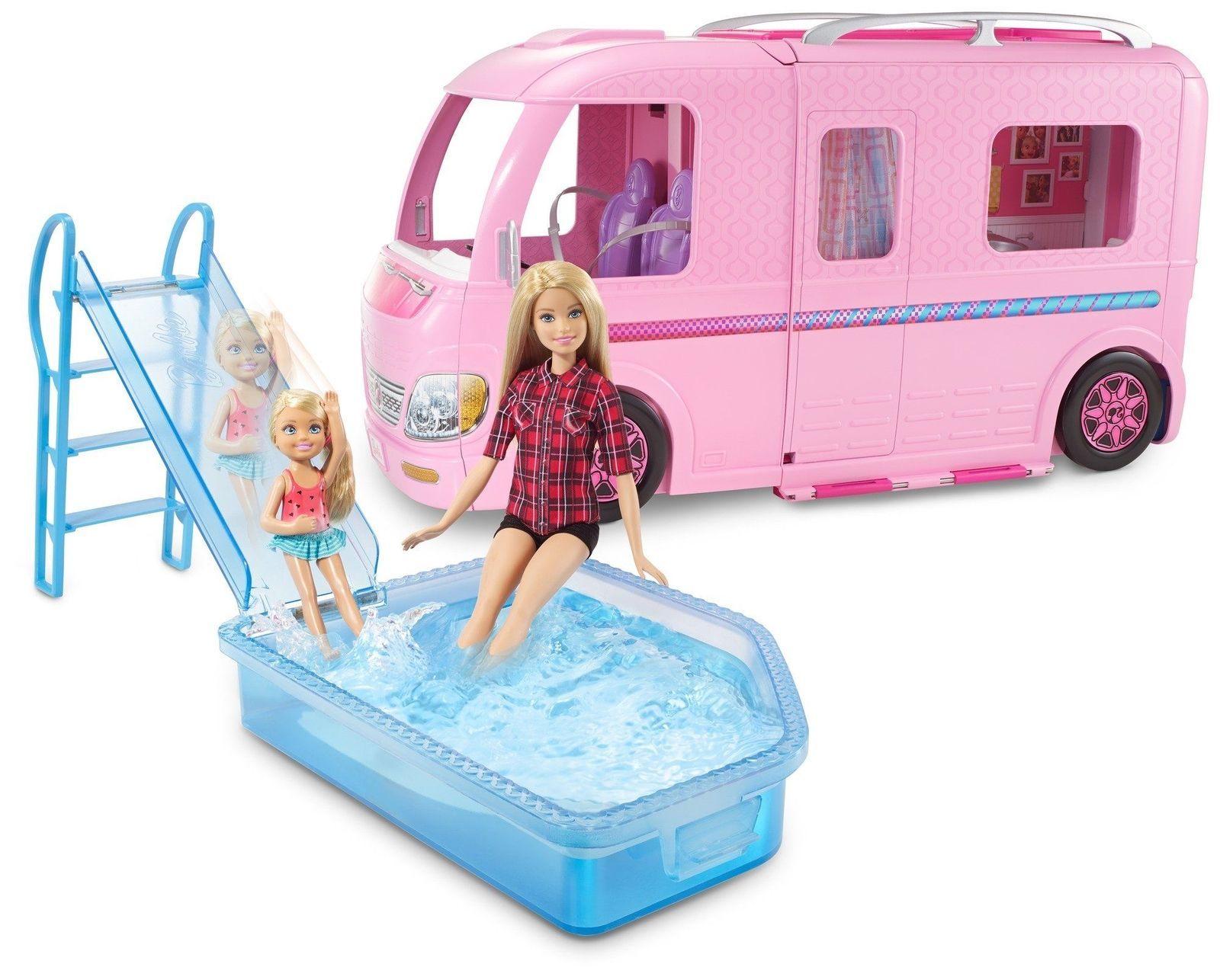 Barbie RV Campsite Play Set Dolls Family Ken Dream Camper Swimming Bedroom Slide