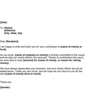 Send This Letter To A Customer Acknowledging The Contribution He