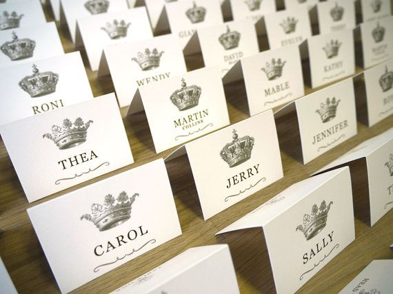 Wedding Guest Name Cards Vintage Crowns Design 100 On Etsy 160 00