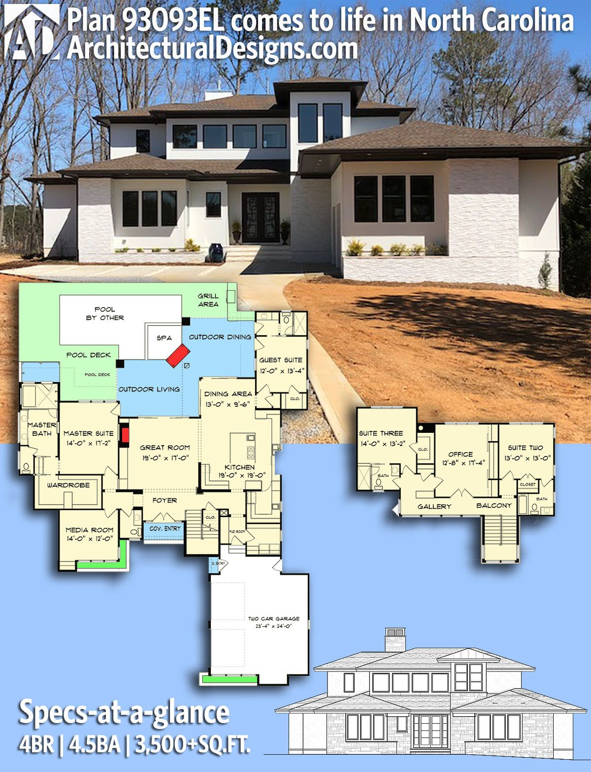 architectural designs house plan 93093el comes to life in north carolina 4br 45 ba 3500 sqft ready when you are where do you want to build - Architectural Designs Com