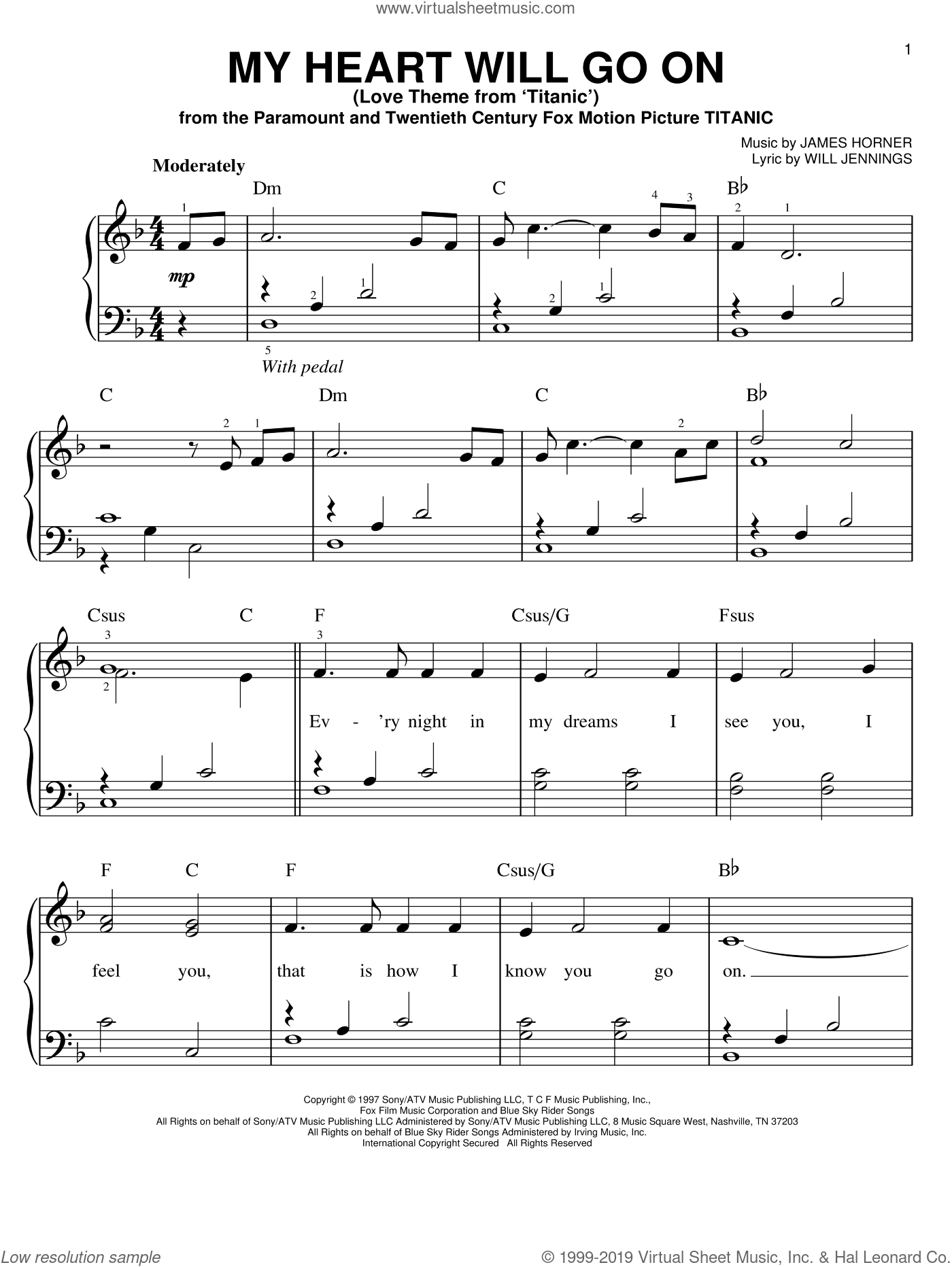 Dion My Heart Will Go On Love Theme From Titanic Easy Sheet Music For Piano Solo In 2020 Piano Sheet Music Easy Sheet Music Pop Piano Sheet Music