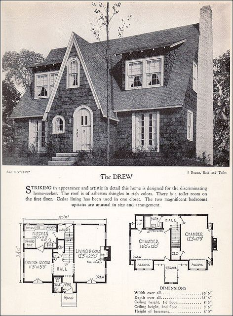 1928 Modern English Revival House Plan Cottage House Plans