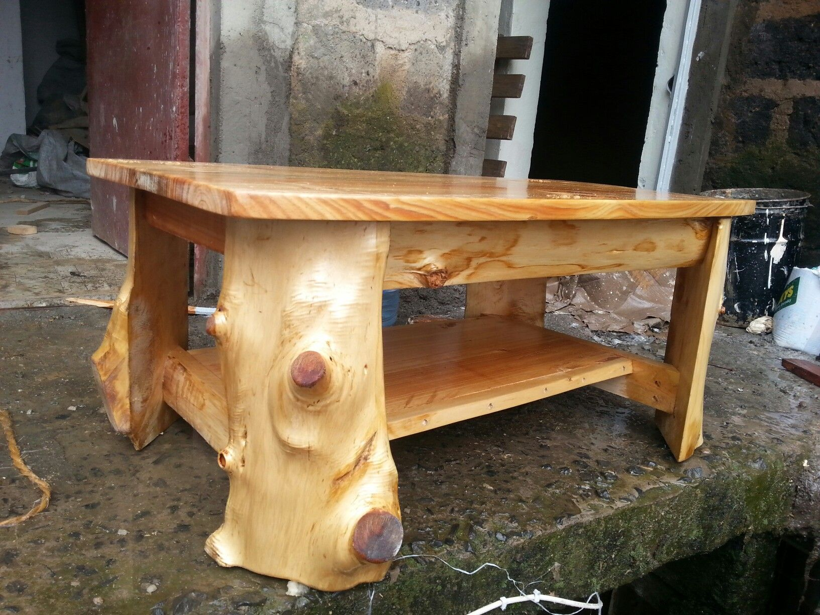 Log coffee table made from cyprus off cuts