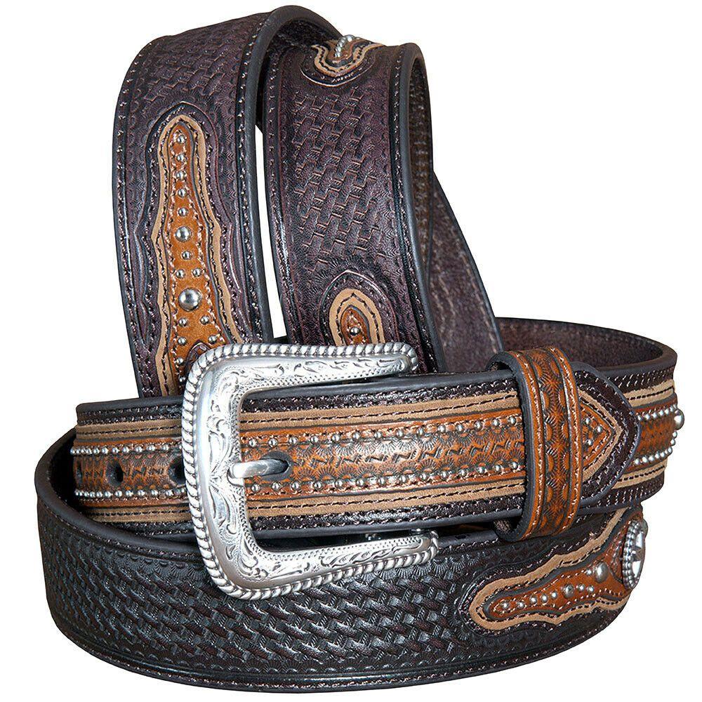 Men/'s Western RANGER BELT Tooled Leather Basket Weave