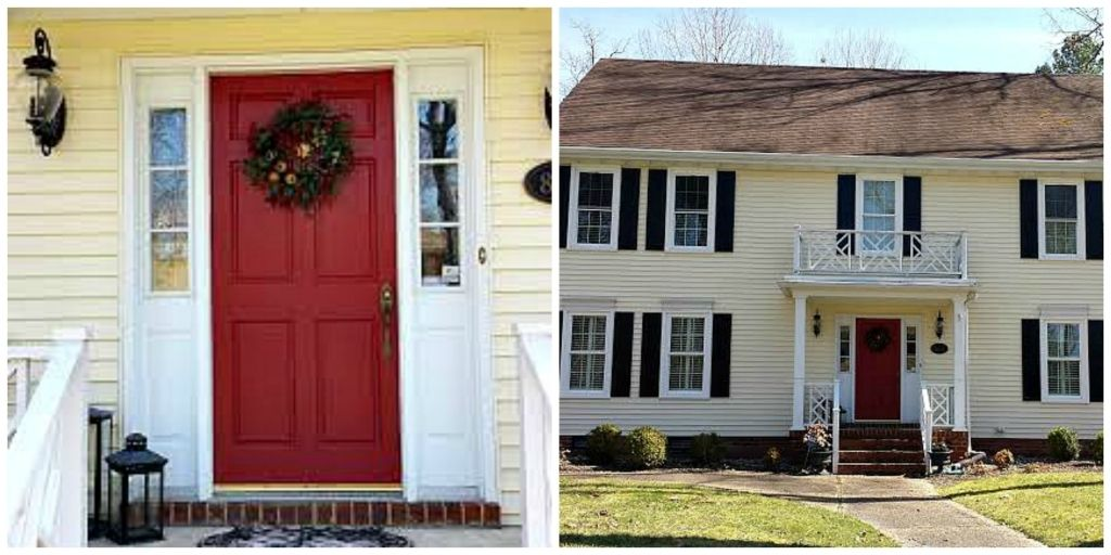 Yellow House Red Door Yellow House Red Door Hotshotthemes Exterior House Paint Color Combinations House Paint Exterior House Paint Color Combination