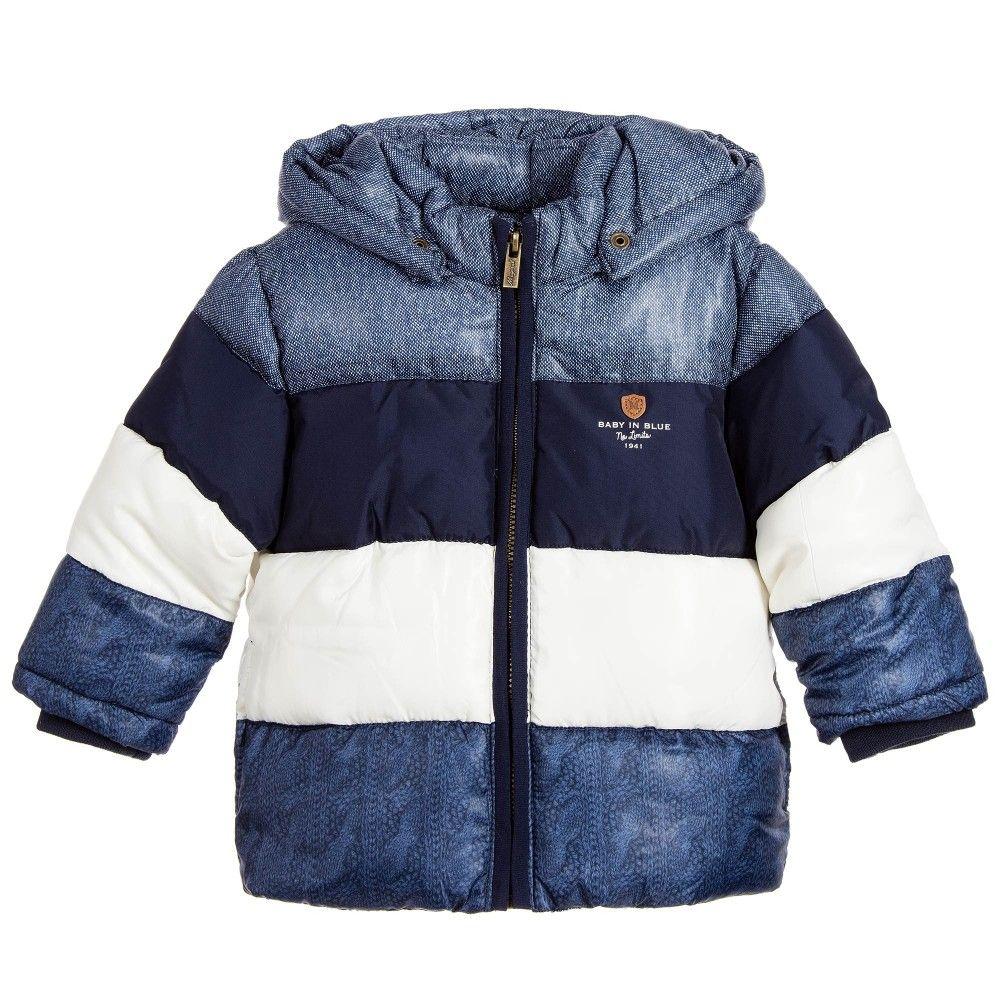 29c6024b12c1 Mayoral Baby Boys Stripy Blue Padded Jacket with Hood