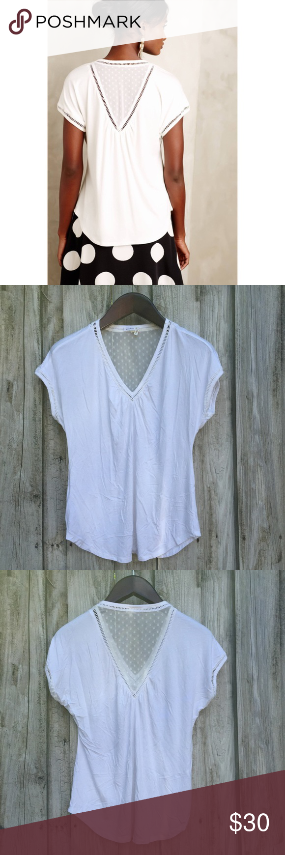 Antrhopologie Meadow Rue Chiffon-spliced Tee Condition: pre-owned. Normal wear. No noted defects. | NO TRADES Anthropologie Tops