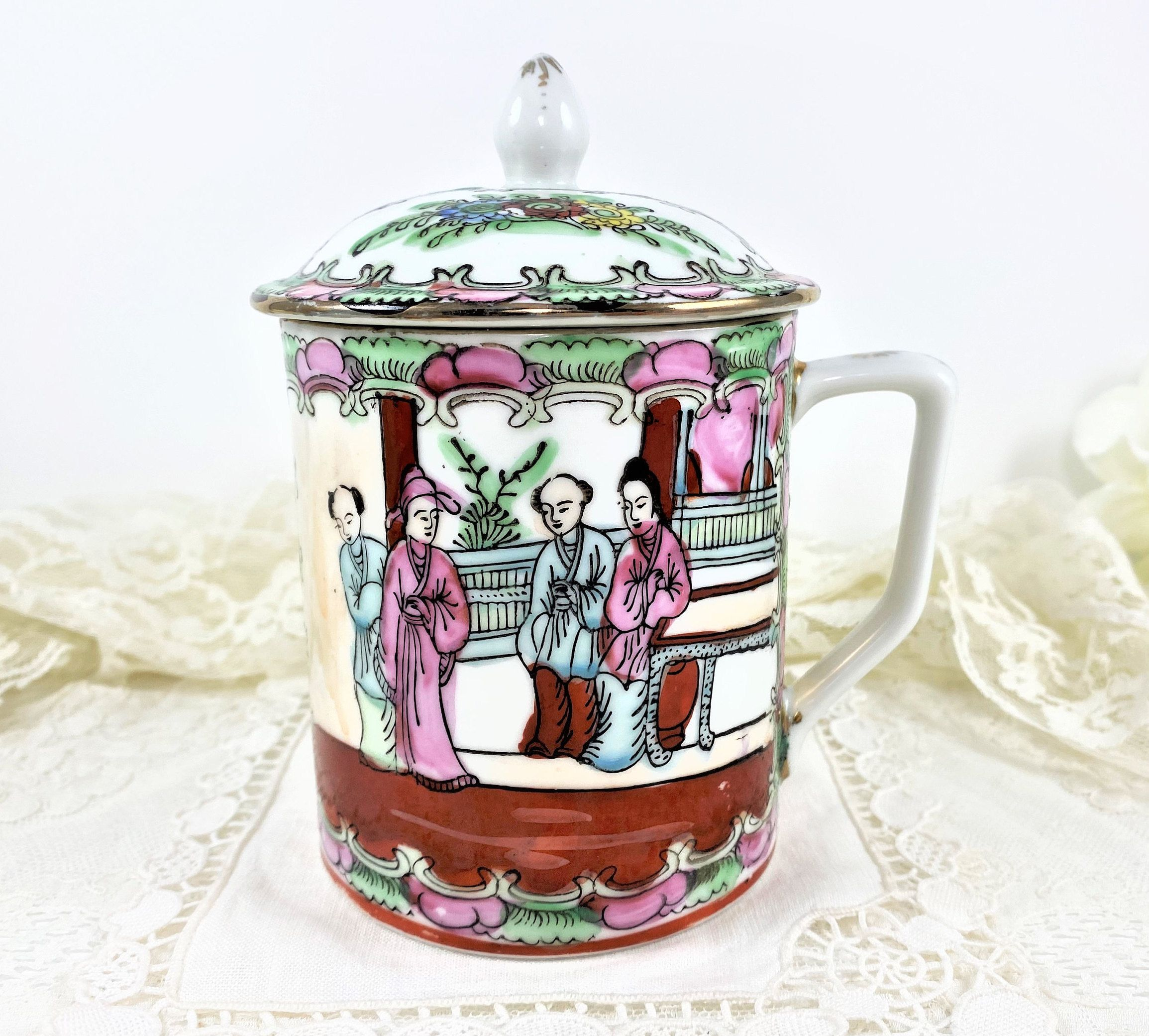 SUGAR BOWL New Century Fine Porcelain Sugar Bowl Victorian Courting Scene Gold Embellished Sugar Bowl