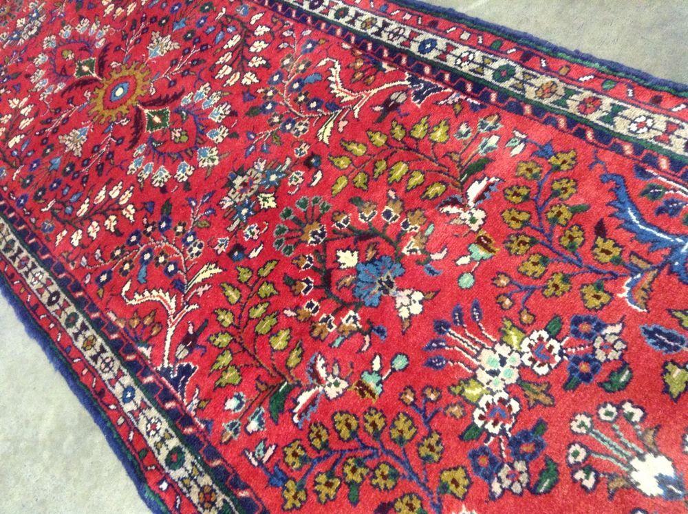 2 7 X 10 Red Navy Green Persian Hamedan Oriental Rug Runner Hand Knotted Wool Oriental Rug Runners Rugs Oriental Rug