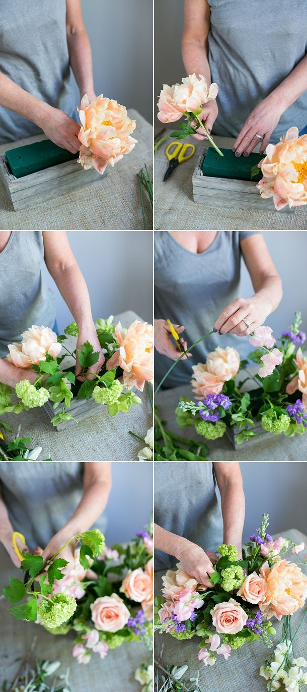 Diy table centre arrangement with peonies centerpieces floral and