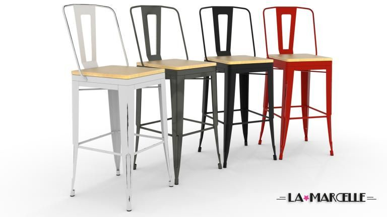 tabouret bar metal industriel 75cm 4couleurs lamarcelle mobiliermoss - Tabouret De Bar Metal Industriel