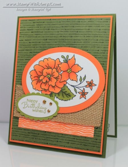 Stampin' Up! ... I Like You - Stamp With Amy K   ... handmade card ... olive and orange ... Freshly Made Sketches #156 ...