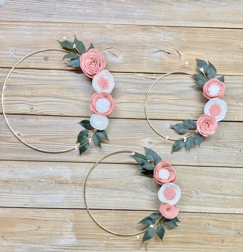 Photo of Gold Hoop Wreath, Blusher and White Wool Blend Felt Floral Wreath Set, Hoop Wreath, Gold Hoop Wreath, Modern Wreath, Nursery Decor