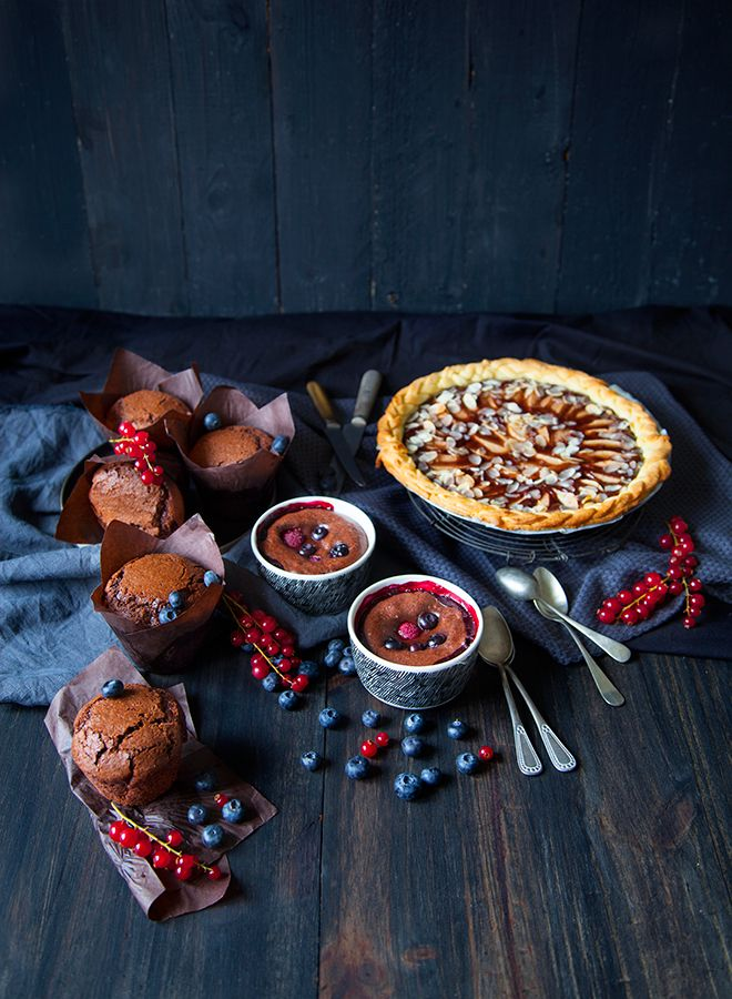 Chocolate and blueberry souffle/100 % Végétal: Vegan