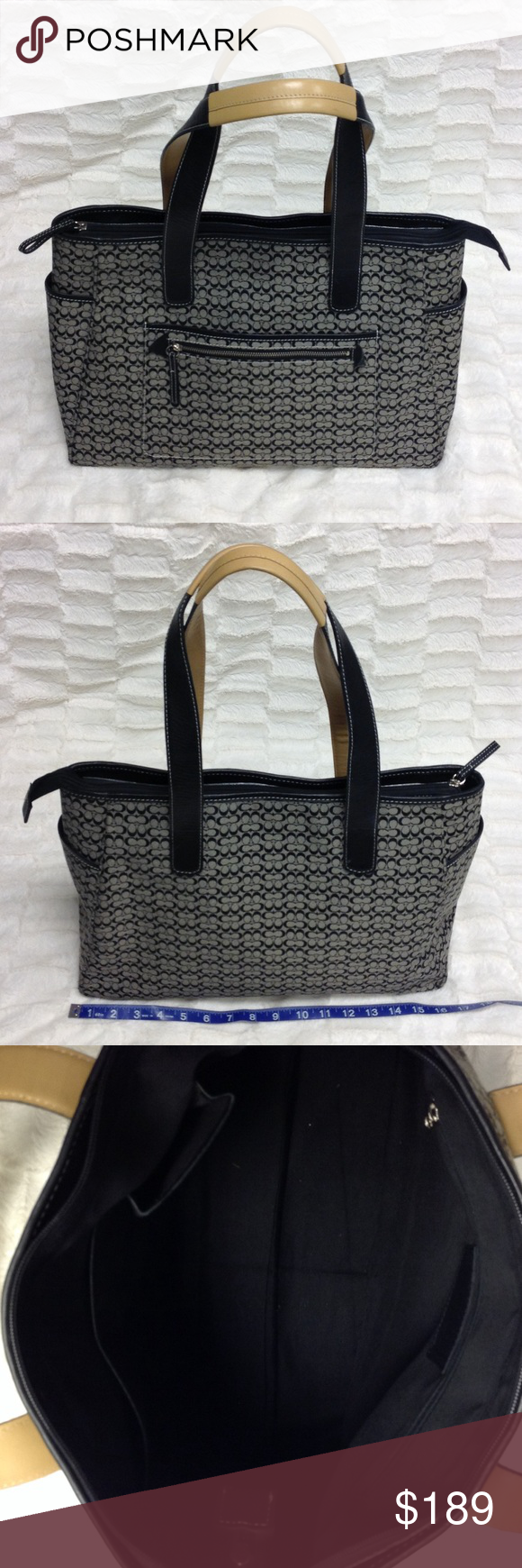 COACH Large Tote Y117 😍😍This Coach tote is large enough to double as a diaper bag! It is the signature C print with black/tan leather handles and white stitching! Large zip top and zippered interior pocket and side wall pockets. 1 open/1 zippered outside pocket. 2 side end pockets. ****Very gently pre-loved, shows minor wear with minor marks on black interior lining from use. Coach Bags Totes