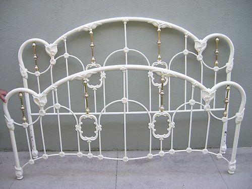 King Size Iron Bed Off White Victorian Design Headboard Footboard