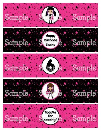 Printable MM Kawaii Rockstar Girls Water Bottle Label Wrappers