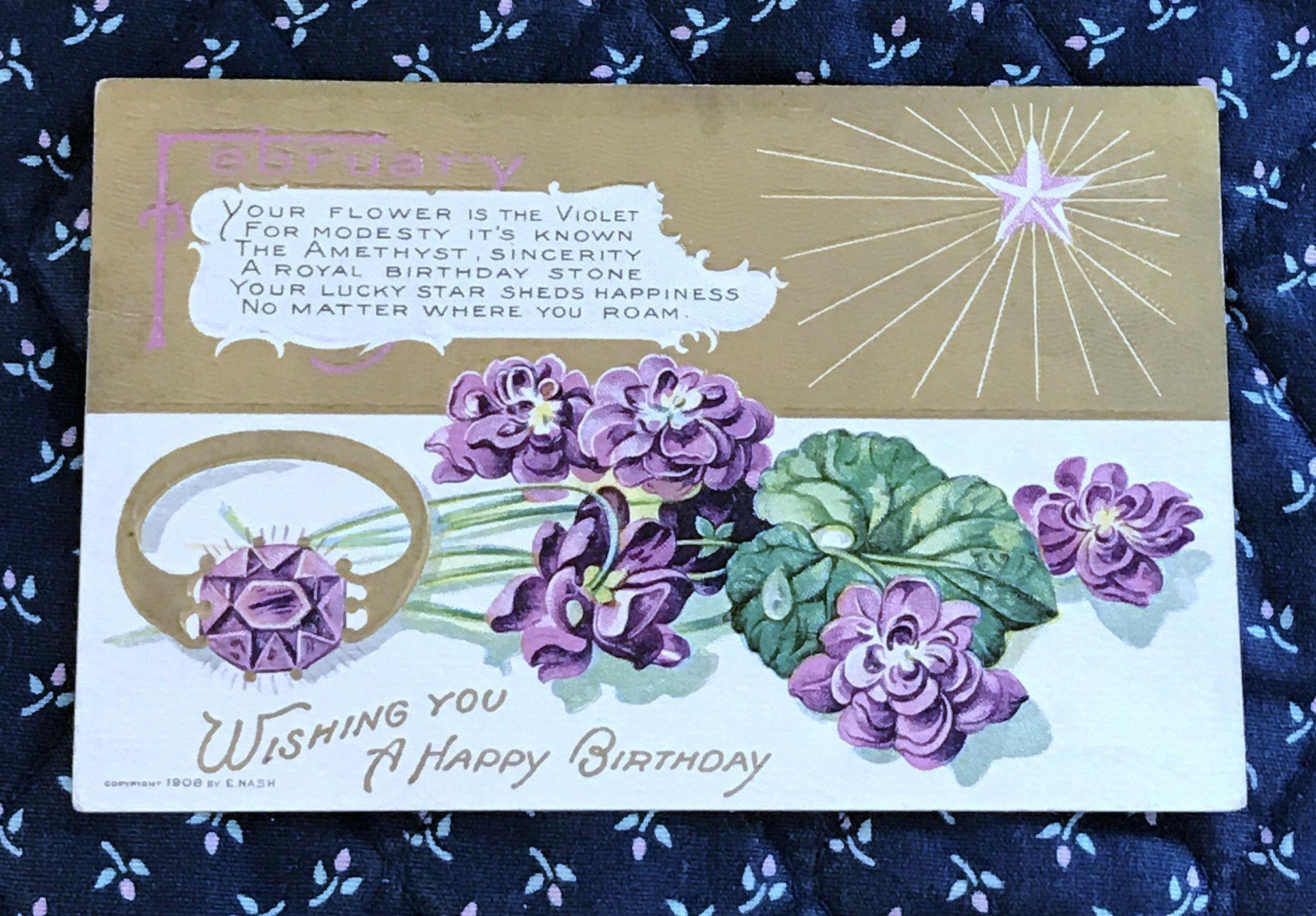 Antique 1908 embossed february happy birthday postcard violet antique 1908 embossed february happy birthday postcard violet flowers amethyst ring birthday verse wishing you a happy birthday izmirmasajfo