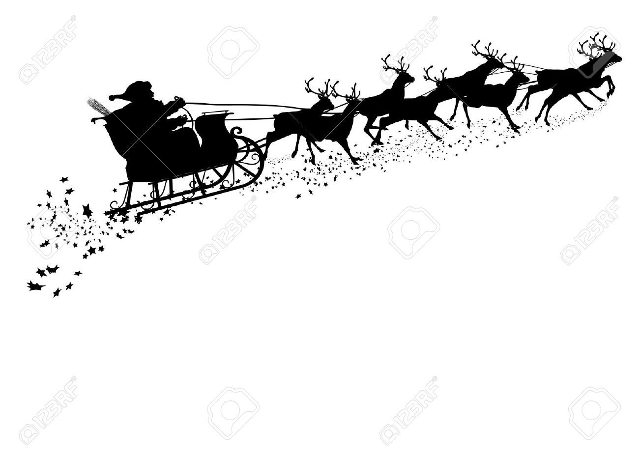 Reindeer Sleigh Outline Santa Claus With Reind...