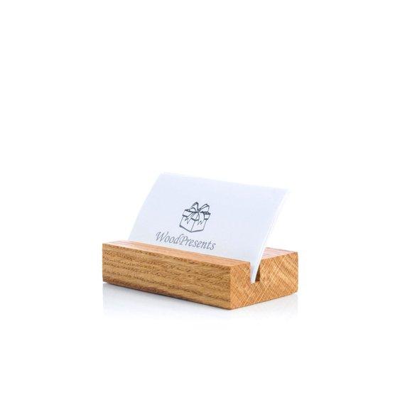 Business Card Holder For Desk Oak Wood